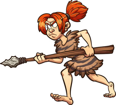 Cave woman hunter walking holding a spear. Vector clip art illustration with simple gradients. All in a single layer. Ilustracja