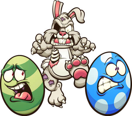 Zombie Easter rabbit chasing eggs. Vector clip art illustration with simple gradients. Some elements on separate layers. Ilustracja