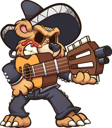 Mariachi Teddy bear crying blood and holding a guitar. Vector clip art illustration with simple gradients. All on a single layer.