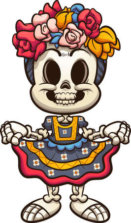 Mexican catrina skeleton with typical dress from Oaxaca. Vector clip art illustration with simple gradients. All on a single layer. Ilustracja