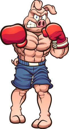 Strong angry boxing pig throwing a punch. Vector clip art illustration with simple gradients. All on a single layer. Ilustracja