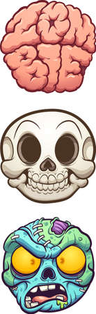 Zombie, skull and brain balls cartoon. Vector clip art illustration with simple gradients. Each on a separate layer. Ilustracja