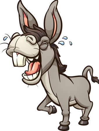 Laughing and braying gray donkey or mule with big teeth in perspective. Vector clip art illustration with simple gradients. All on a single layer. Ilustracja