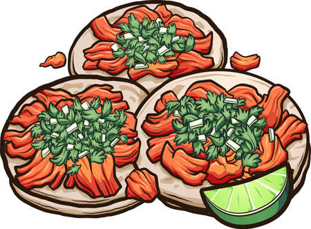 Mexican cartoon tacos al pastor with onions and cilantro. Vector clip art illustration with simple gradients. All on a single layer.