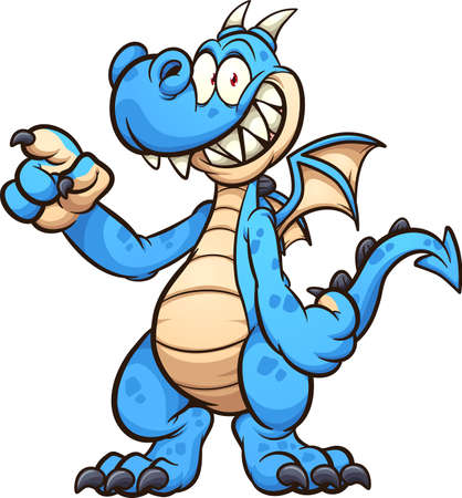 Blue dragon cartoon character standing up and pointing. Vector clip art illustration with simple gradients. All on a single layer. Ilustracja
