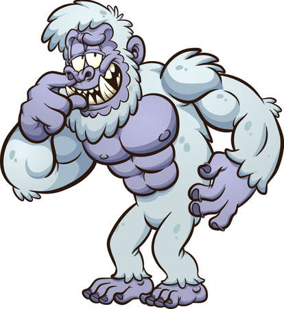 Yeti monster cartoon picking its nose. Vector clip art illustration with simple gradients. All on a single layer.