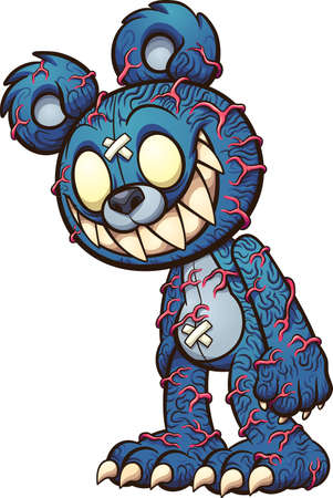 Scary blue Teddy bear with red veins popping out . Vector clip art illustration with simple gradients. All on a single layer. Ilustracja