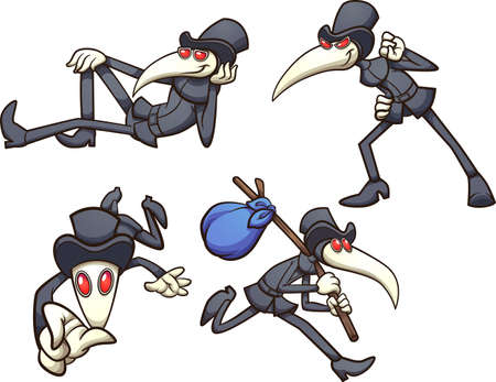 Plague doctor character in different poses. Vector clip art illustration with simple gradients. Each on a separate layer. Ilustracja