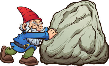 Garden gnome pushing a big rock. Vector clip art illustration with simple gradients. Some elements on separate layers. Ilustracja