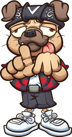 Cholo pug character making the Los Angeles hand sign. Vector clip art illustration with simple gradients. All on a single layer.
