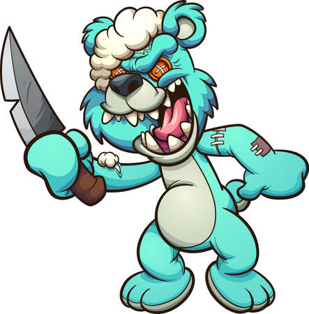 Evil Teddy bear laughing and holding a knife. Vector clip art illustration with simple gradients. Some elements on separate layers.