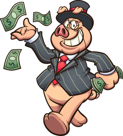 Capitalist rich pig throwing money at the air. Vector clip art illustration with simple gradients. All on a single layer.