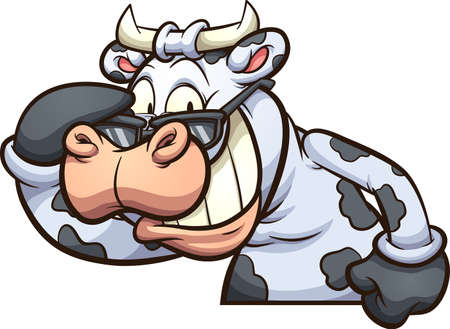Laughing cow taking sunglasses off. Vector clip art illustration with simple gradients. All on a single layer. Ilustracja