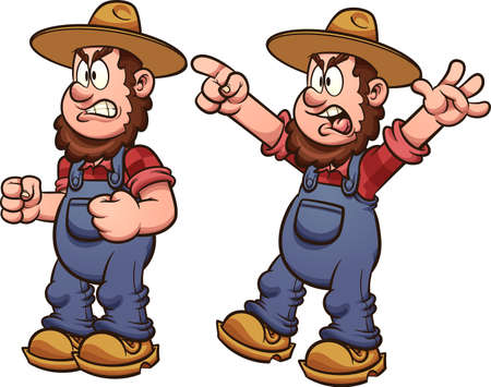 Angry cartoon farmer standing and yelling. Vector clip art illustration with simple gradients. Each on a separate layer.