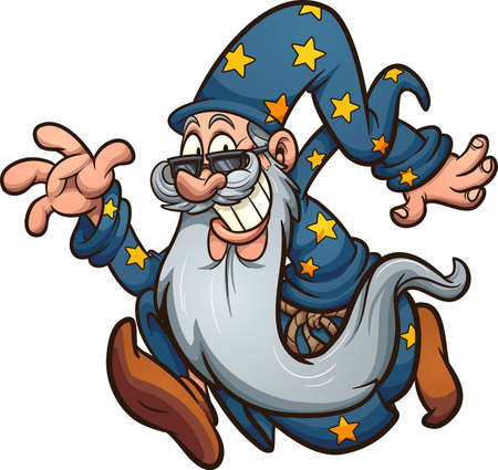 Running old cartoon wizard with long beard. Vector clip art illustration with simple gradients. All in a single layer. Ilustracja