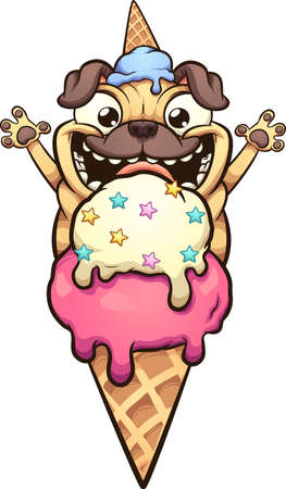Happy pug dog about to eat ice cream cone. Vector clip art illustration with simple gradients. All in a single layer.
