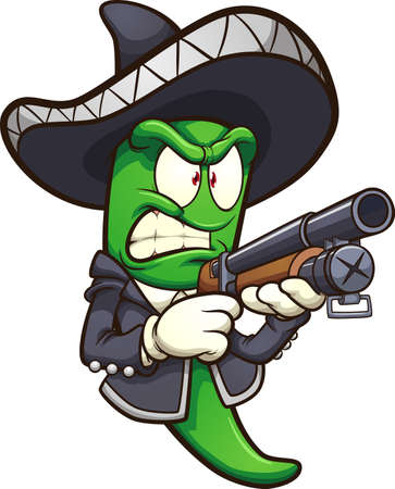 Green jalapeno pepper with a mariachi outfit and a shotgun. Vector clip art illustration with simple gradients. All in a single layer.