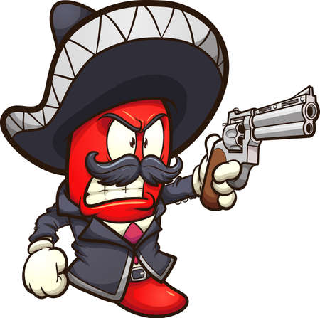 Red chili pepper with a mariachi outfit and a revolver gun. Vector clip art illustration with simple gradients. All in a single layer.