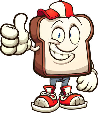 Slice of white bread cartoon character. Vector clip art illustration with simple gradients. All in a single layer.