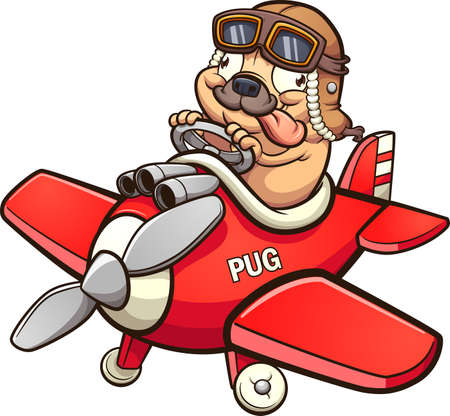 Cute pilot pug flying a tiny red toy airplane. Vector clip art illustration with simple gradients. All in a single layer.