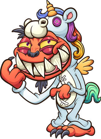 Orange monster wearing unicorn pajamas and smiling. Vector clip art illustration with simple gradients. All in a single layer.