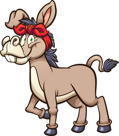 Cartoon female donkey with red bandanna. Vector clip art illustration with simple gradients. All on a single layer.