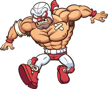 Cartoon Mexican wrestler running with an angry face. Vector clip art illustration with simple gradients. All on a single layer.