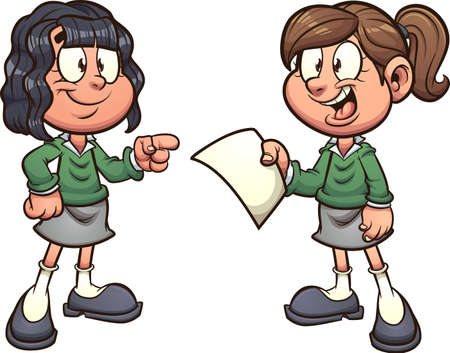 Cartoon school girls with uniform talking. Vector clip art illustration with simple gradients. Each on a separate layer.