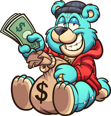 Teddy bear holding a big bag of money and some bills. Vector clip art illustration with simple gradients. All on a single layer.