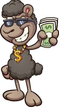 Black sheep wearing a dollar sign golden pendant cartoon and holding paper bills. Vector clip art illustration with simple gradients. All on a single layer
