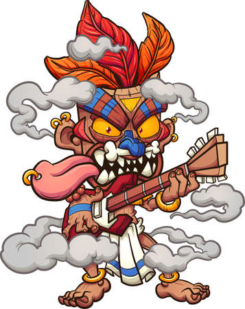Tiki mask character playing the electric guitar. Vector clip art illustration with simple gradients. All on a single layer