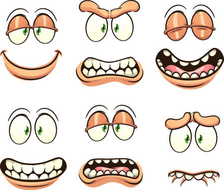Cartoon faces with different expressions and emotions. Vector clip art illustration with simple gradients. Each on a separate layer. Ilustracja