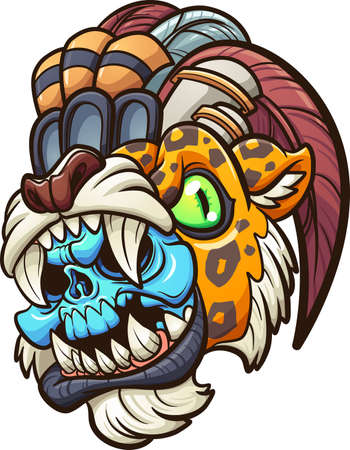 Cartoon colorful Aztec jaguar warrior with blue skull. Vector clip art illustration with simple gradients. All on a single layer. Ilustracja