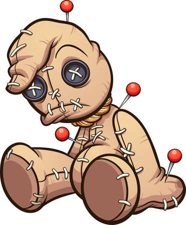 Sad sitting voodoo doll with pins. Vector clip art illustration with simple gradients. All on a single layer. Ilustracja