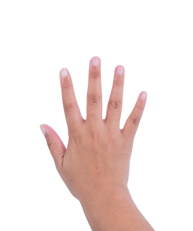 five fingers: woman hand is showing five fingers isolated on white background