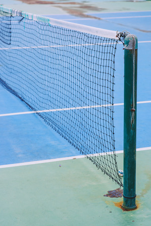 tennis net: tennis net in a tennis court Stock Photo