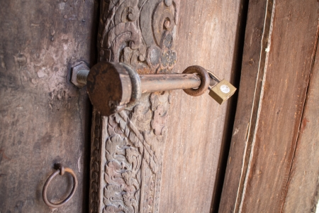 wood door with lock photo