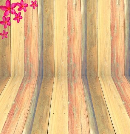 Old lath wood home texture background , Pink frangipani photo