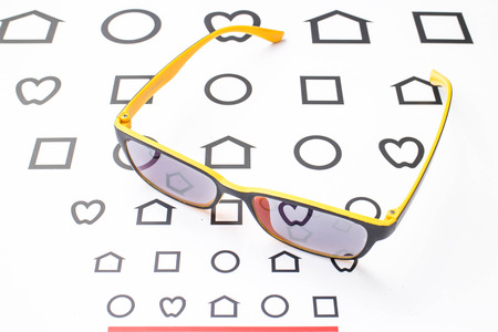 glasses with near chart Stock Photo