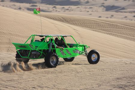 Green sand rail in the dunes at Glamis California