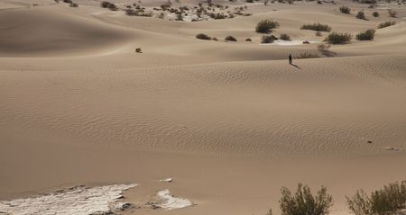 A solitary person in the dunes in Death Valley, CA