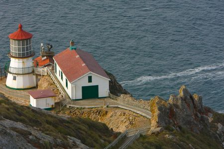 Lighthouse at Point Reyes, CA Stock Photo