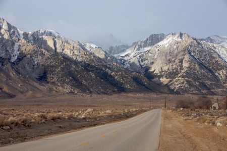 Road leading to Mt. Whitney in winter