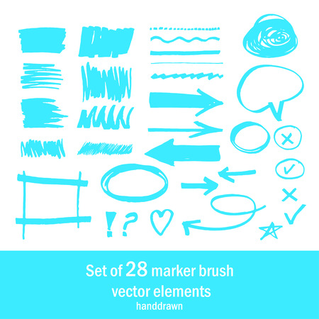 abstrakt: Set of 28 marker brush handdrawn elements Illustration