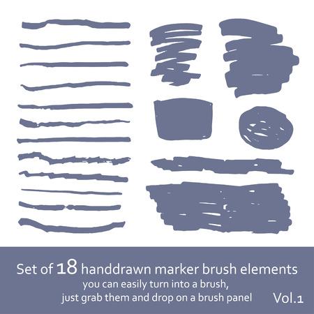 Set of 18 marker brush handdrawn elements