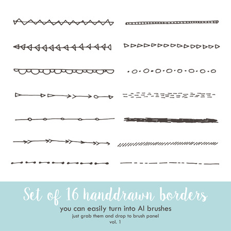 abstrakt: Set of 16 handdrawn doodle borders Illustration