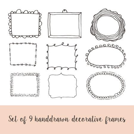 pen and marker: Set of 9 handdrawn doodle frames