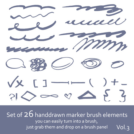 abstrakt: Set of 26 marker brush handdrawn elements