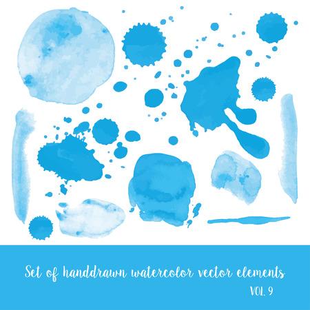 leaden: Set of watercolor vector strokes and blobs