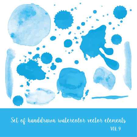 Set of watercolor vector strokes and blobs